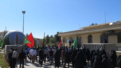 راهپيمايي جاماندگان اربعين حسيني در دانشگاه دامغان